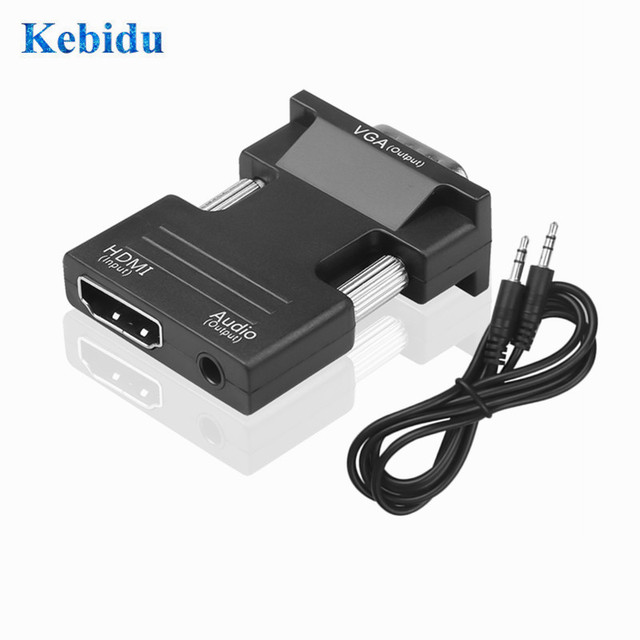 חם 1080P HDMI ל vga כבל ממיר עם אודיו נקבה לזכר כבלי מתאמים עבור HDTV מקרנים צג עבור PS3