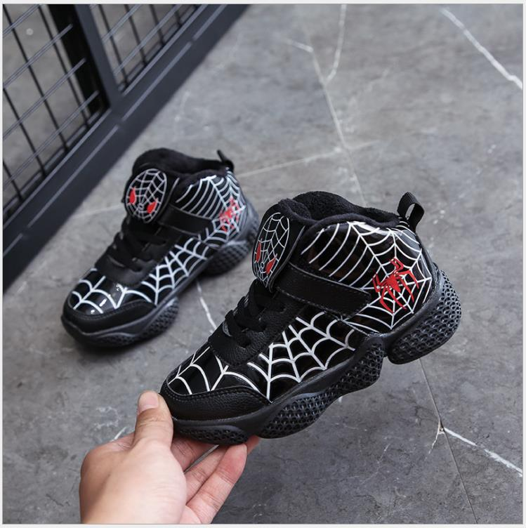 New Autumn&Winter Children Boots Shoes Spiderman Warm Sports Sneakers For Boys Children's Outerdoor Winter Snow Boots