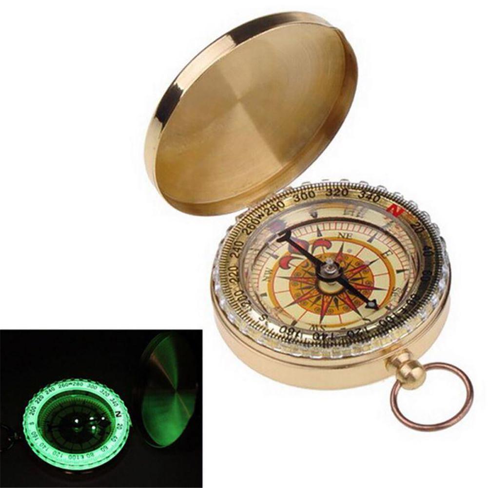 Карманные часы Стиль Чистая медь Открытый Кемпинг Туризм Навигация компас с кольцом светящаяся функция