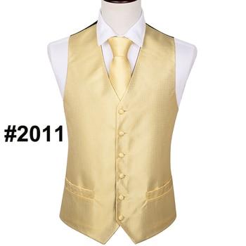 Designer Mens Classic Black Paisley Jacquard Folral Silk Waistcoat Vests Handkerchief Tie Vest Suit Pocket Square Set Barry.Wang 12