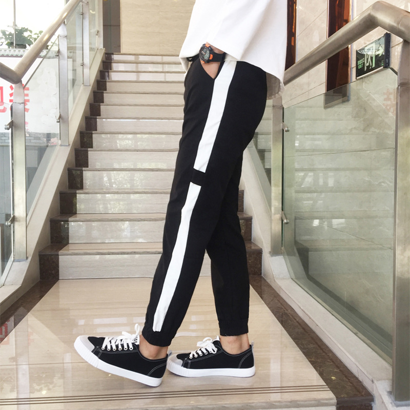 Thin Capri Pants Young MEN'S Students Ankle Banded Pants Bicycle Labeling Skinny Athletic Pants Couple Clothes Large Size