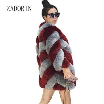 ZADORIN Designer Brand Luxury Faux Fox Fur Coat Women Plus Size Winter Coat Thick Warm Fake Fur Jacket Coats chaqueta mujer