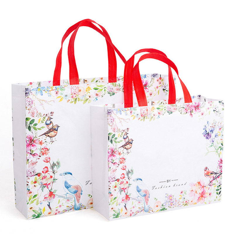 1PC Flower Print Foldable Shopping Bag Reusable Eco Shopper Bag Large Women Storage Tote Pouch Non-Woven  Grocery Shopping Bags