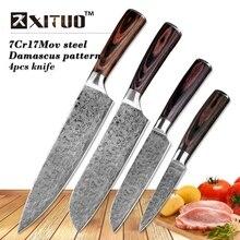 XITUO 4pcs Set Kitchen Knife Imitative Damascus Professional