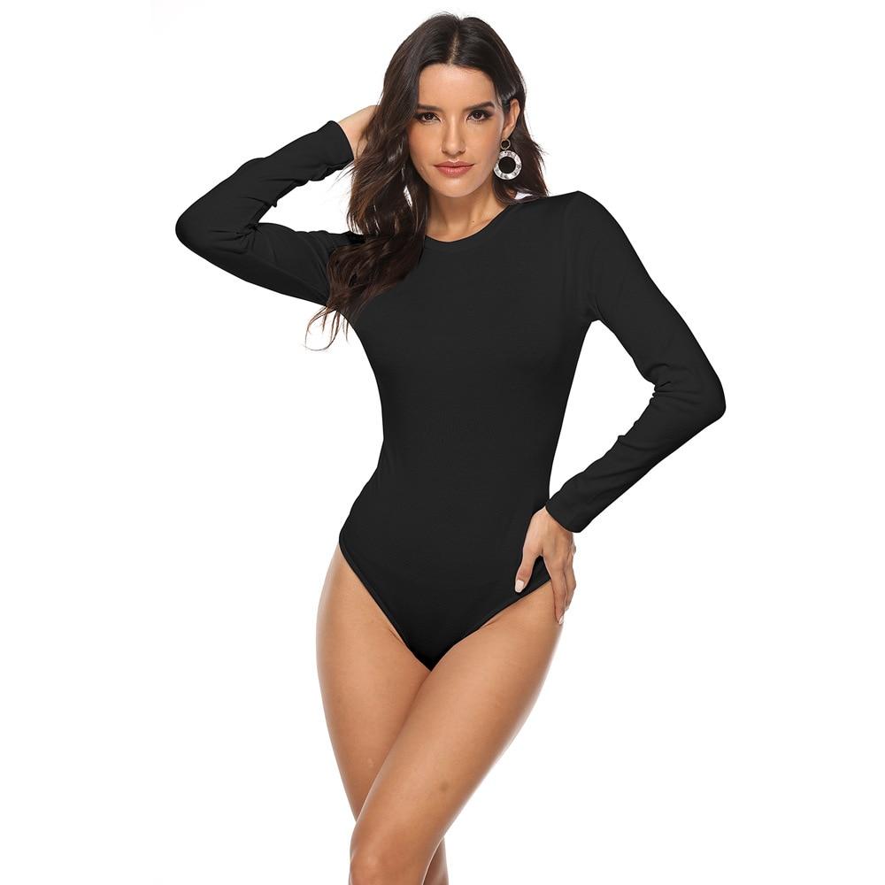 EIFER White Black Minimalist Solid Form Fitting Bodysuit Casual O-Neck Long Sleeve Skinny Bodysuit Women Bodysuits