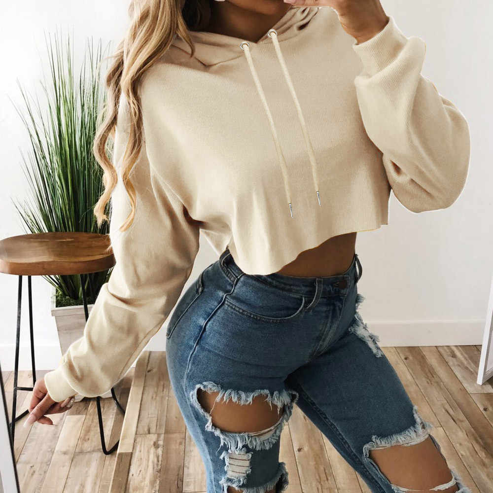 Fashion Women Sweatshirt 2019 Hot Sale Hoodies Solid Crop Hoodie Long Sleeve Jumper Hooded Pullover Coat Casual Sweatshirt Tops