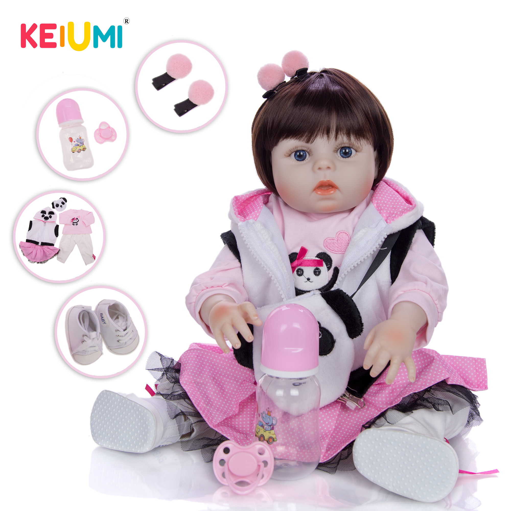 KEIUMI Fashion Cosplay Panda Reborn Baby Dolls Full Silicone Vinyl 48 cm Realistic Reborn Boneca