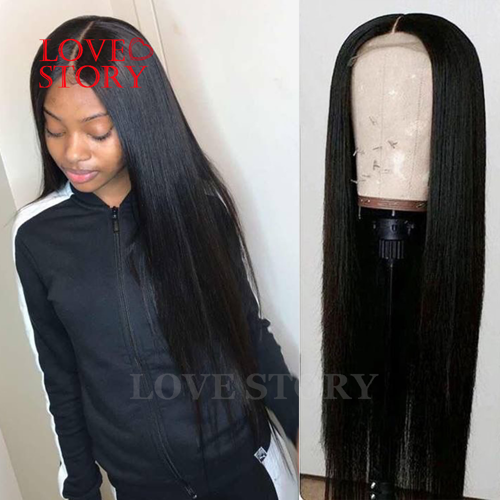 Lovestory Black Color Synthetic Lace Front Wigs Heat Resistant Silky Straight Replacement Wigs With Baby Hair