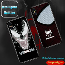 Marvel Spiderman venom à induction Intelligente Illuminé téléphone étui pour iphone 6 S 7 8 Plus X XS 10 11 Pro MAX XR Couverture De Paillettes(China)