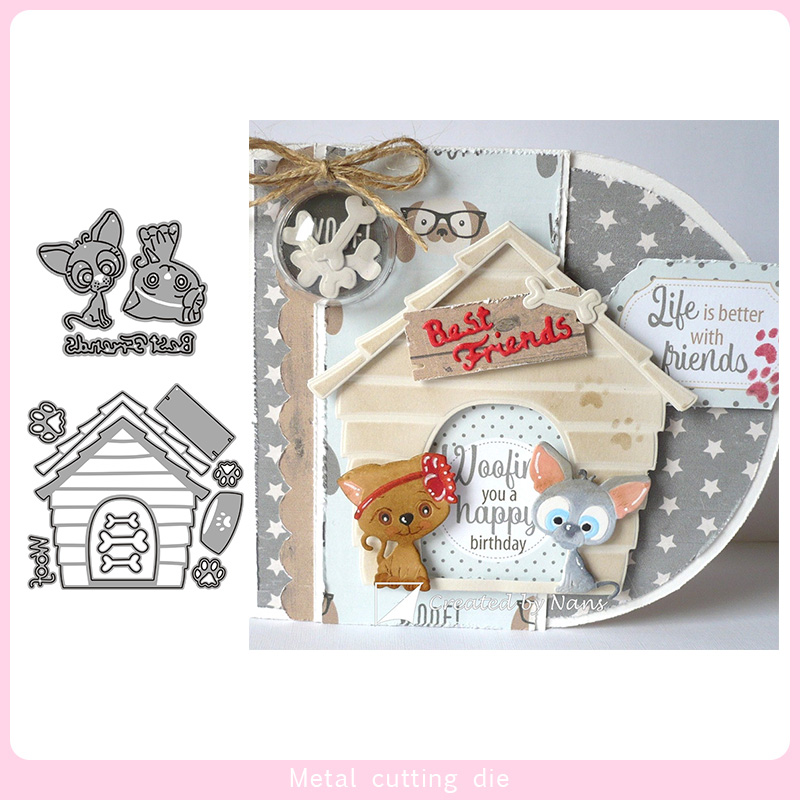 Kitten Puppy House Metal Cutting Dies For DIY Scrapbooking Photo Album Decorative Embossing Paper Card Crafts Die Cut 2019