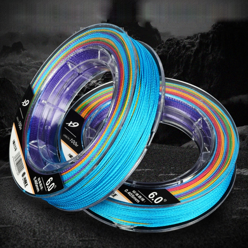100M Anti-winding Compact Anti-wear Durable 9 Strand Braided Fishing Line for