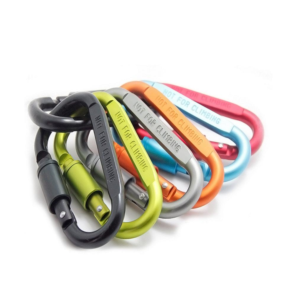 1pc Outdoor Climbing Carabiner Aluminum Alloy D-Type Hanging Buckle With Lock Key Outdoor Sports Safety Buckle Outdoor Equipment