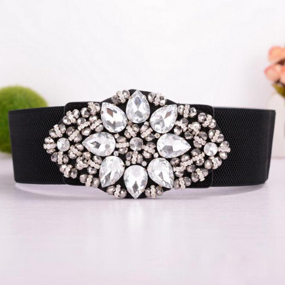 Fashion Women's Elastic Waist Belt Crystal Flower Buckle Corset Belts For Ladies Wide Strap Cinch Waistband Accessories White