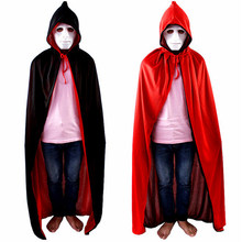 arrival Unisex Adult Men Women Solid Hooded Cape Long Cloak Black Halloween Costume Coat Vampire Ponchos(China)