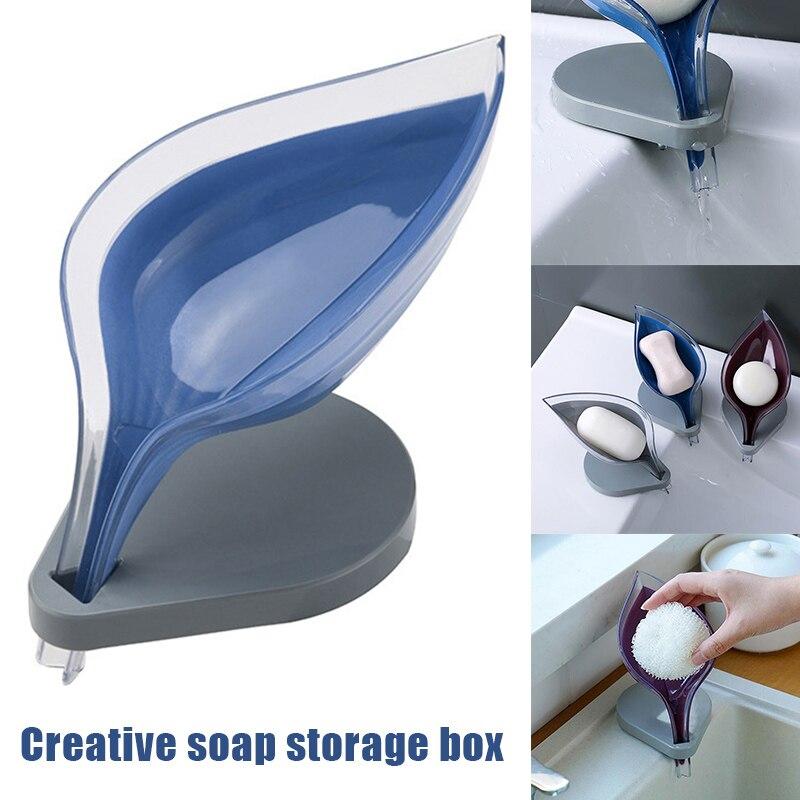 Leaf Shape Soap Box Bathroom Soap Holder Dish Storage Plate Tray Bathroom Soap Holder Case Bathroom Supplies Bathroom Gadgets M3
