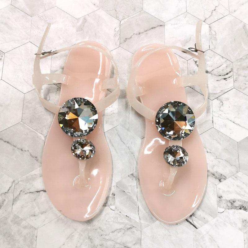 Transparent Woman Sandals Summer Big Diamond Shoes Lager Size 41 42 Women Sandal Female Crystal Beach