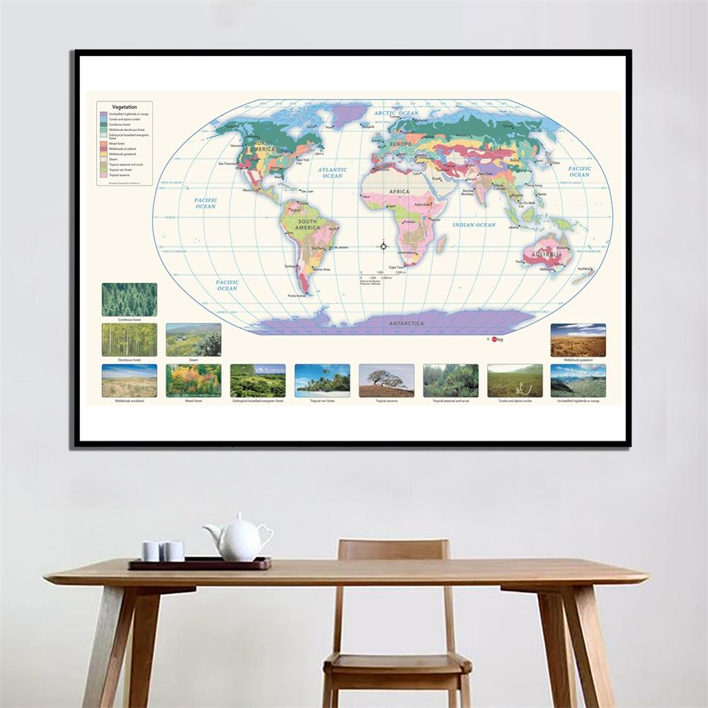 60x90cm Fine Canvas Spray Painting The World Decor Map For Living Room Office Wall Art Decor Painting