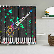 Music Guitar Shower Curtains  character piano keyboard Bath Curtain Polyester Waterproof Bathroom