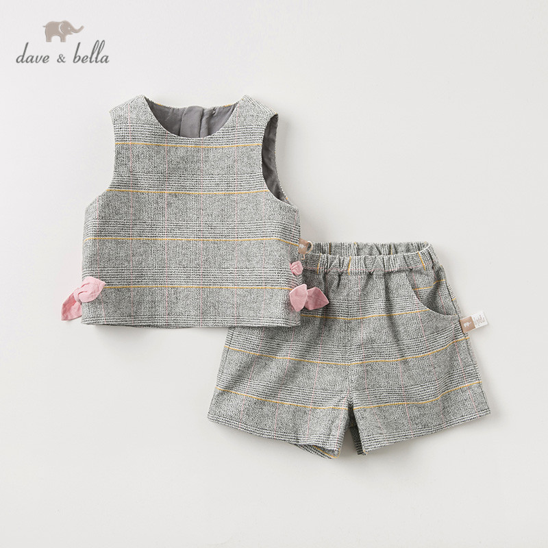DB11978-1 Dave Bella Autumn Baby Girls Fashion Bow Plaid Clothing Sets Kids Cute Long Sleeve Sets Children 2 Pcs Suit