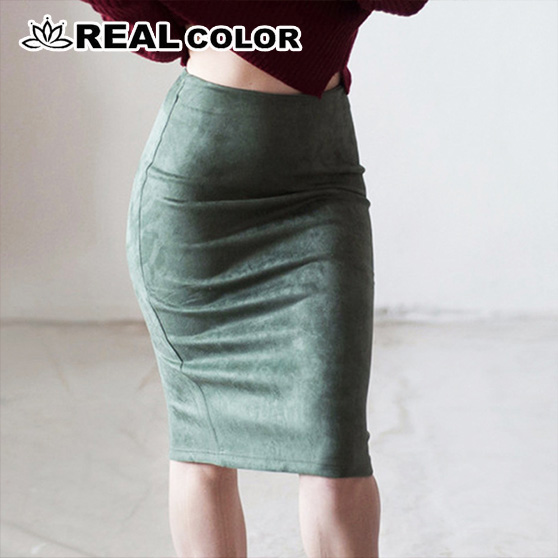Super Deals Women Suede Solid Color Pencil Skirt Female Spring Autumn Basic High Waist Bodycon Split Knee Length Skirts-85 image
