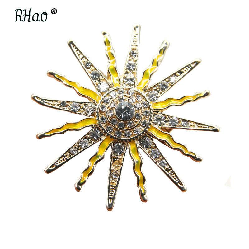 Rhao Vintage Sun Bros untuk Wanita dan Pria Pakaian Perhiasan Pin Kuning Enamel Mantel Kerah Aksesoris Topi Pin hadiah