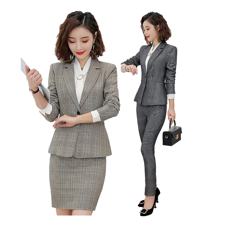 Office Lady Suit Set Skirt Suit With Pockets Elegant Dress Blazer Skirt 2 Pieces Formal Career Interviewee Jackets Skirts Suits