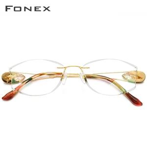 Image 2 - Fonx 와이어 티타늄 무테 안경 여성 Ultralight 럭셔리 다이아몬드 트림 처방 광학 안경 프레임 안경 8511