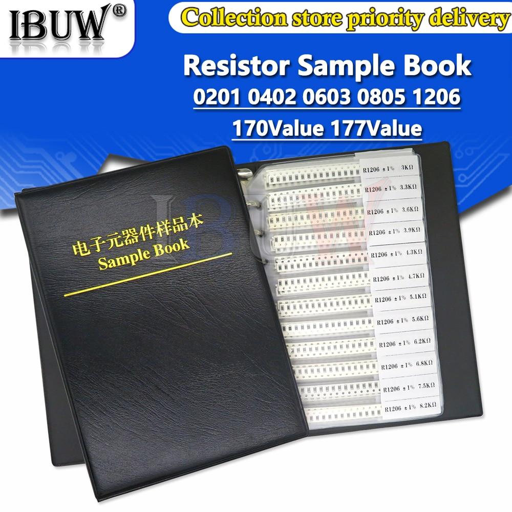 4250PCS 8500PCS 8850PCS 0201 0402 0603 0805 1206 Livro Amostra Resistor ibuw 1% SMD Kit Sortido 1 10K 100K K 1R 100R 220R