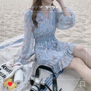 Image 2 - חמוד מיני שמלות המפלגה תאריך ללבוש אישה ארוך שרוול קוריאה יפן פרע מתוק בנות קטן פרחוני שיפון שמלת 8503