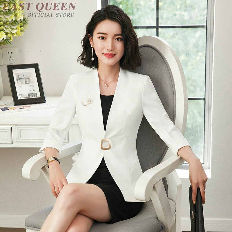 インタビュースーツの女性のエレガントな白ブレザースカートスーツ女性女性 2018 オフィス制服デザインビジネススーツ AS011