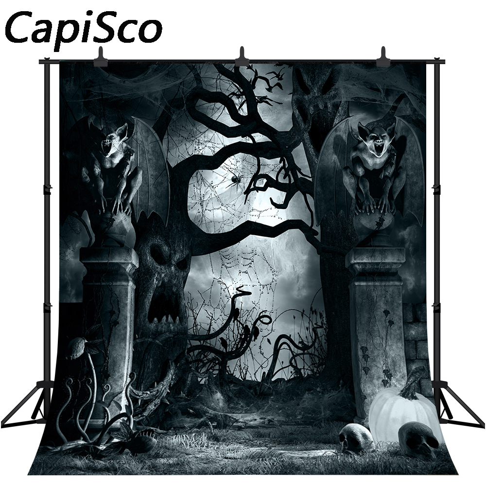 CapiSco 5X7FT Halloween Backdrop Full Moon Dark Night Photograpphy Background Scary Plant Backdrop for Adult Child Family Portrait Halloween Party SCO106A