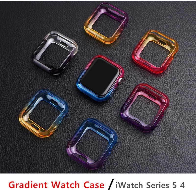 Colorful Cover for Apple watch 5/4 case 44mm 40mm Soft Ultra-thin TPU Protector bumper iWatch series 5/4 44/40 mm Accessories image