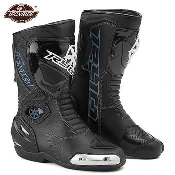 Motorcycle Boots Motocross Boots Men Leather Botas Moto Motorbike Racing Riding Boots Motorcycle Shoes Black Red For 4 Season arcx motorcycle boots men waterproof botas moto genuine cow leather moto boots motocross boots motorcycle racing mid calf shoes