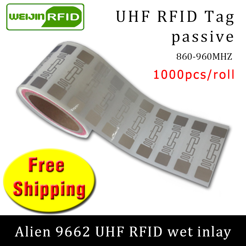 UHF RFID Tag Sticker Alien 9662 EPC6C Wet Inlay 915mhz868mhz860-960MHZ Higgs3 1000pcs Free Shipping Adhesive Passive RFID Label