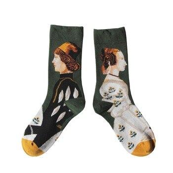 Autumn and winter French fun couple in the barrel socks female personality graffiti tide socks like art retro.