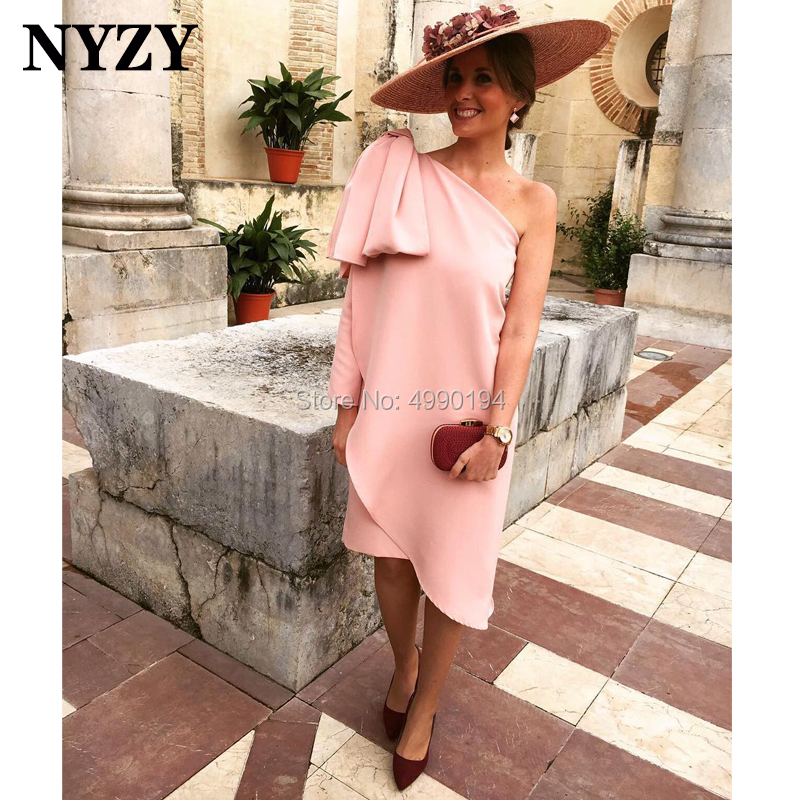 Pink Satin Knee Length One Long Sleeve   Cocktail     Dresses   NYZY C211 Formal   Dress   Party Graduation Homecoming 2019