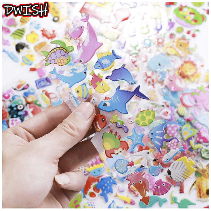 10pcs Different 3D Puffy Bubble Stickers Waterproof PVC Cartoon Animals Anime Kids Scrapbooking Girl Boy DIY Reward Gift Sticker