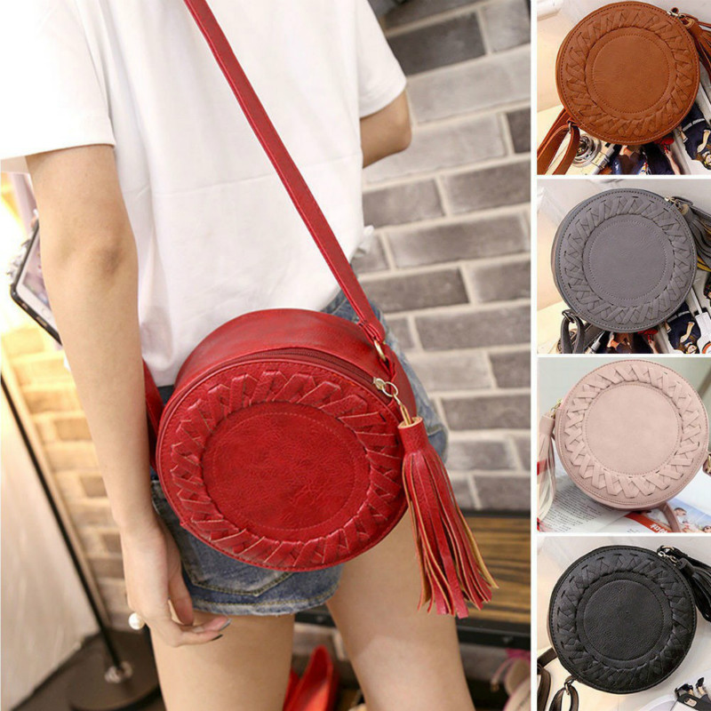 New Women's Bag Trendy Women's Shoulder Bag Solid Color Woven Tassel Small Round Bag Messenger Bag Fashion Makeup Coin Purse