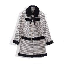 Autumn 2019 new European and American women's wear Long-sleeved lapel plaid Elegant single-breasted buttons Wool coat(China)