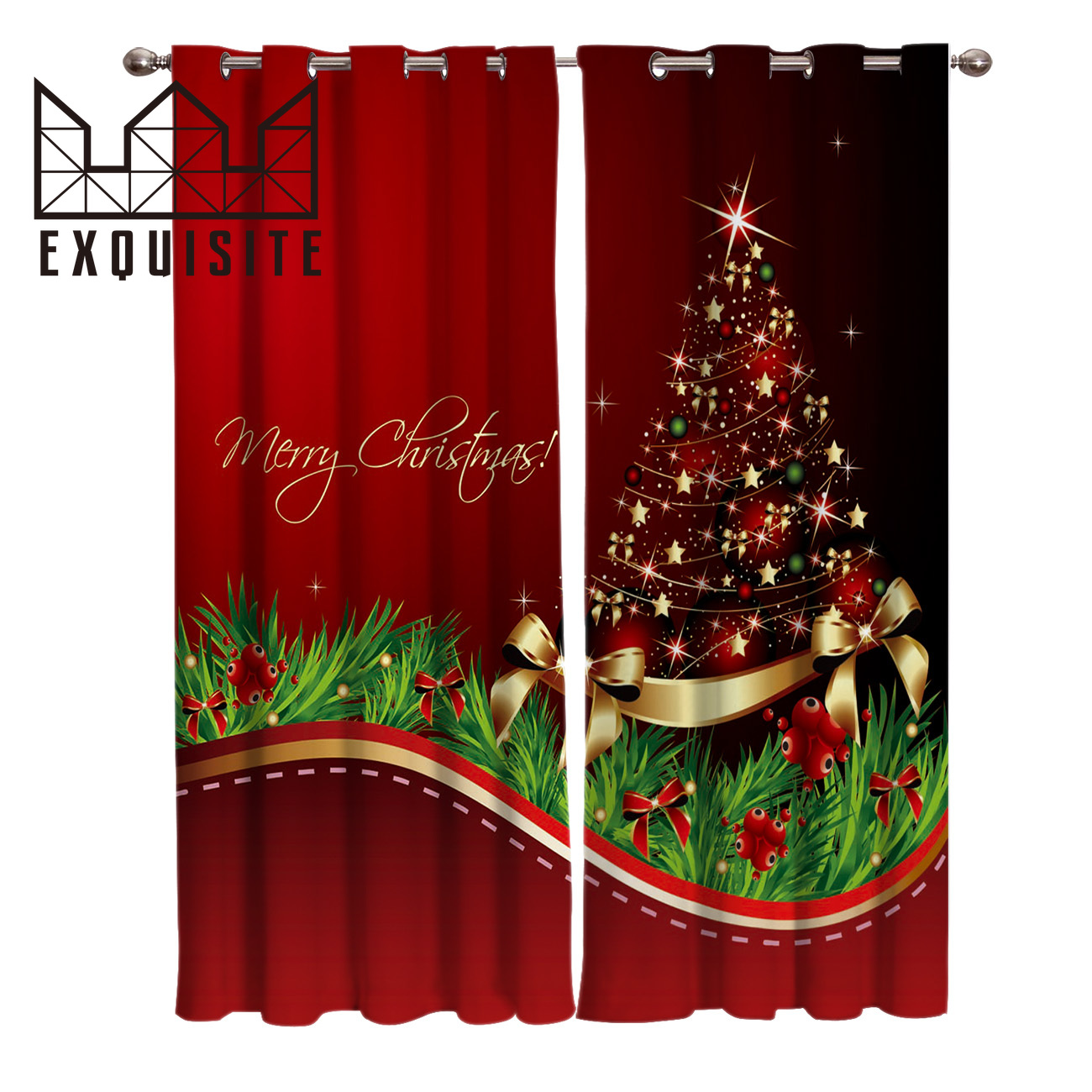 Exquisite House Merry Christmas Tree Window Treatments Curtains Valance Living Room Bedroom Kitchen Indoor Decor Swag Curtain Curtains Aliexpress