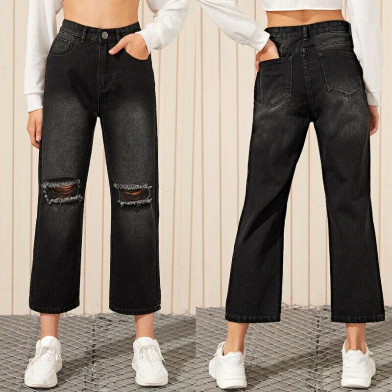 Women Black Straight Wide Leg Denim Jeans Hole Ankle Length High Waist Long Pants Vintage Trousers