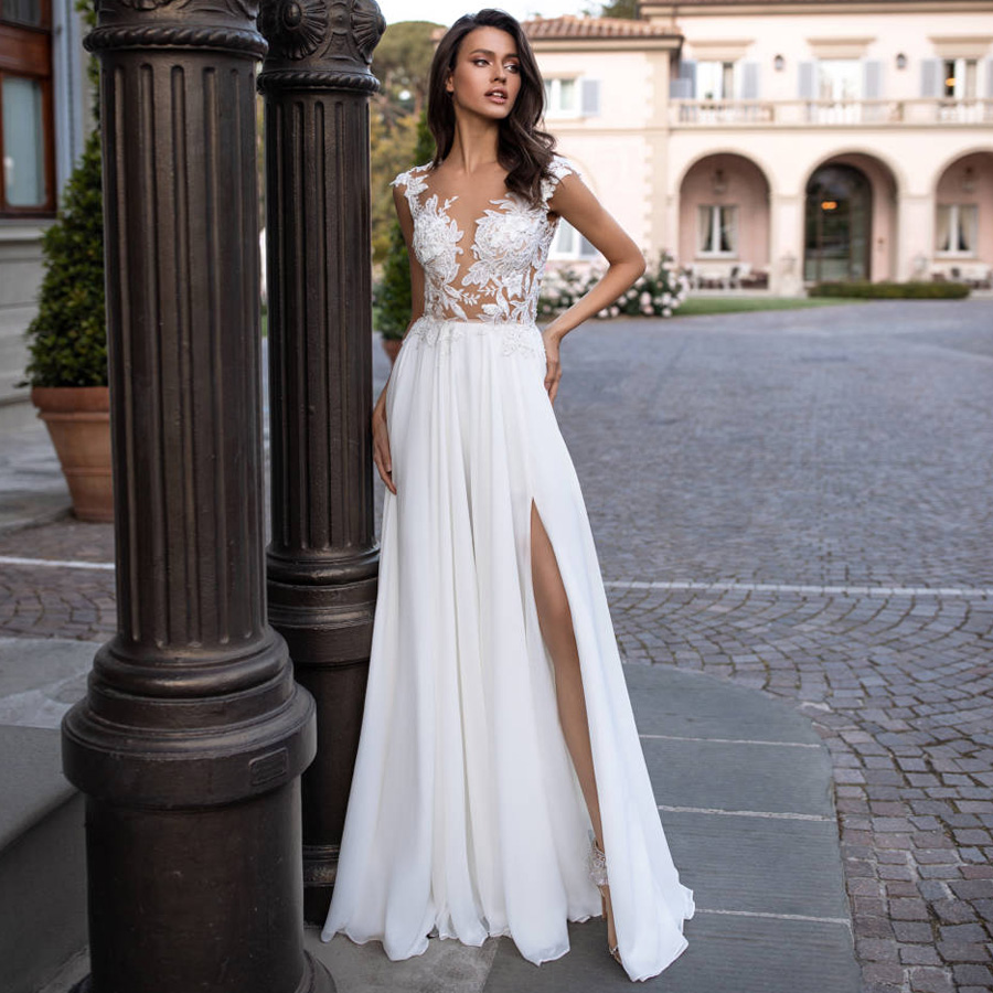 Sexy Beach Boho Wedding Dress With High Slit Cap Sleeve See-through Applique Chiffon Wedding Gowns Vestido De Noiva