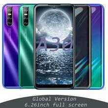 Teléfono Inteligente A30, 4GB RAM, 64GB rom, Android so, pantalla HD de 6,26 pulgadas, identificación facial, MT6580, Quad Core, Sim Dual, GSM, WCDMA