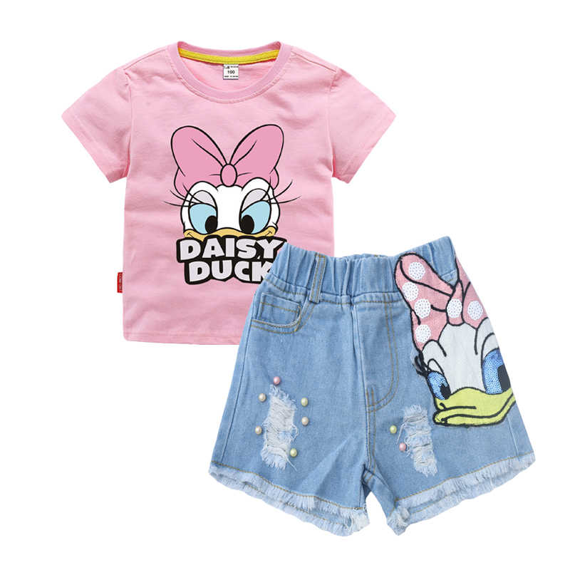 Ripped Hole Denim Shorts Pants Summer Clothes 2Pcs Cute Kids Toddler Girl Outfit Short Sleeve Daisy T-Shirt Tops
