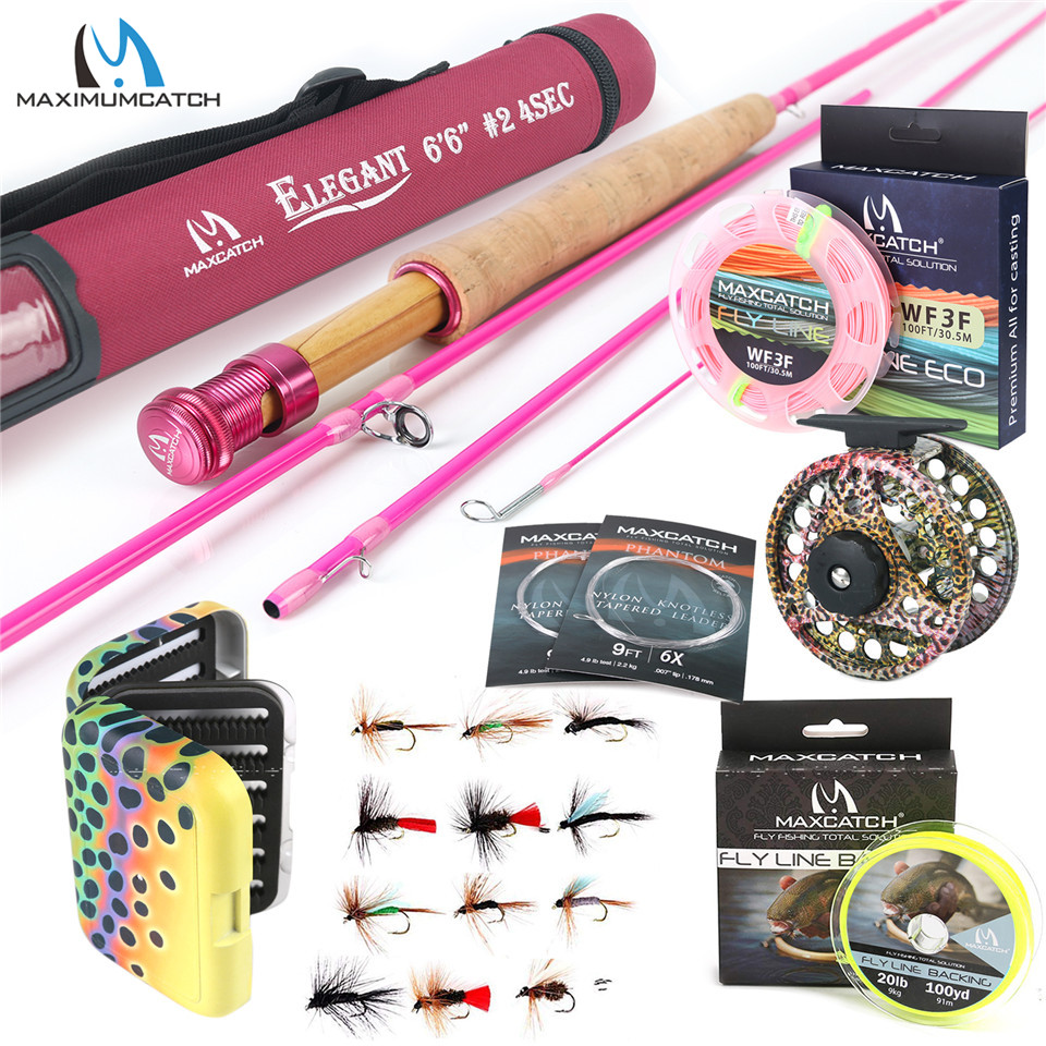 5WT Fly Fishing Combo 9FT Medium-fast Pink Rod with Reel and Line