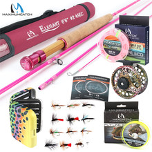 цена на 5WT Fly Fishing Combo 9FT Medium-fast Pink Fly Fishing Rod with Reel and Line