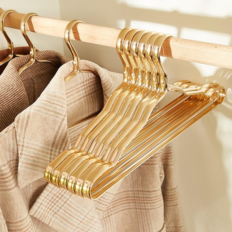 Clothes Hangers 10pcs Aluminium Alloy Coat Hangers Anti-slip Seamless Metal Drying Rack Wardrobe Organizer Clothing Storage Rack