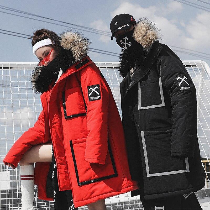 2019 hiver bande réfléchissante veste hommes Long Canada manteau fourrure capuche chaud lettre impression Hip Hop Parka hommes femmes Couple Streetwear