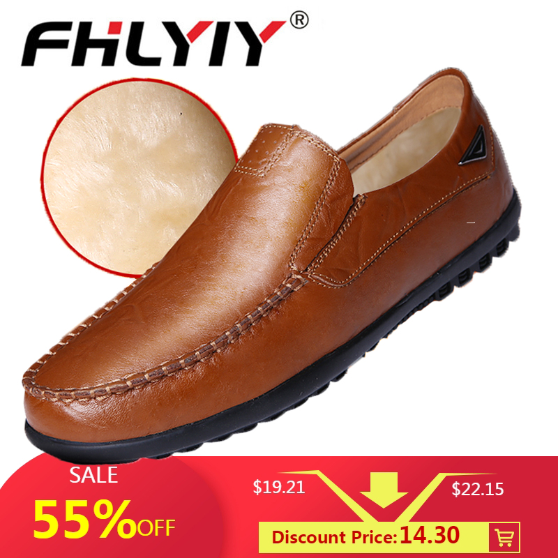 Fhlyiy Brand 2020 New Men'S Casual Genuine Leather Shoes Luxury Brand Mens Loafers Flats Breathable Slip On Black Driving Shoes
