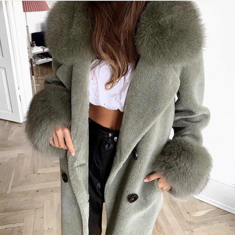EIFURKOP abrigo de piel auténtica de oveja diseño largo con cuello de piel de zorro natural y puños de piel 2 estilos
